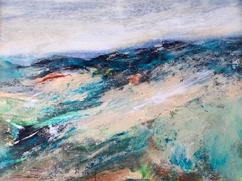 color on the mountain, landscape painting, emerald, jade, debiriley.com