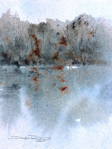 watercolor technique charging, tree reflection landscape, debiriley.com