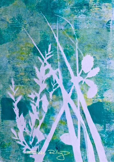 cobalt teal blue grass and leaves, painting, debiriley.com