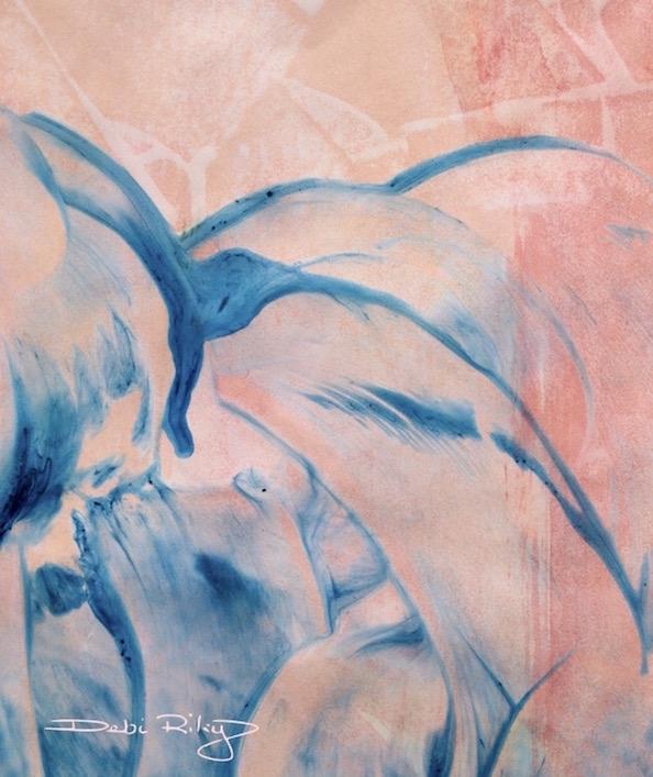 Bird of paradise,Strelitzia Abstraction, watercolor, acrylics, debiriley.com