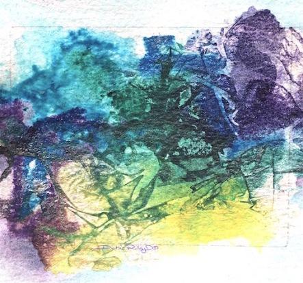 Watercolor plastic wrap fun painting, teal, blue, lilac, debiriley.com