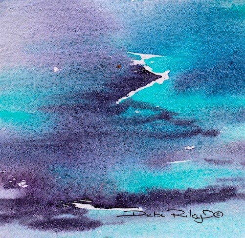 precious lilac and teal watercolor painting, debiriley.com