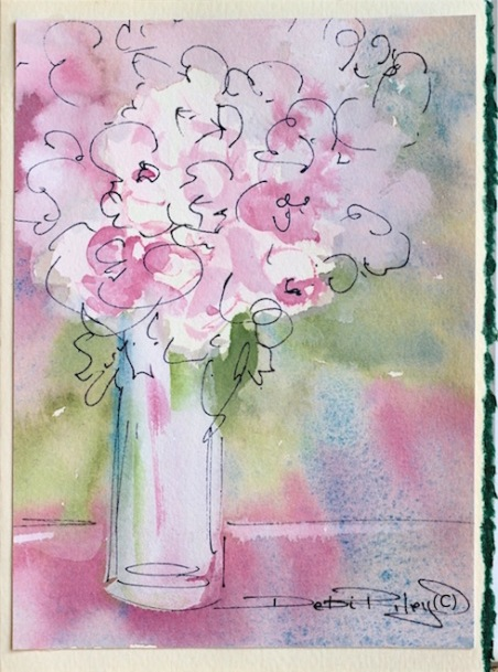 spring roses watercolor card, painting, debiriley.com