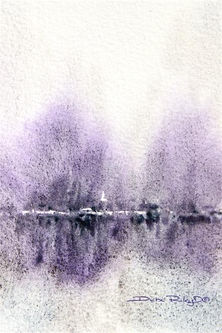 Winters Glow, watercolor landscape, reflections, debiriley.com