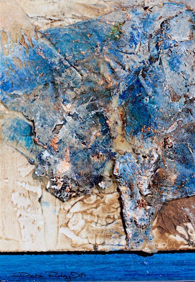Blue Zen, prussian blue Beauty, blue and gold pairing, debi riley art techniques, wabi sabi the art of imperfections, debiriley.com