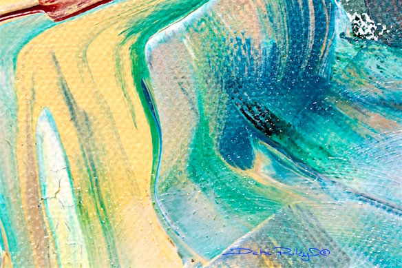 Yellow and Green abstract acrylic, debiriley.com