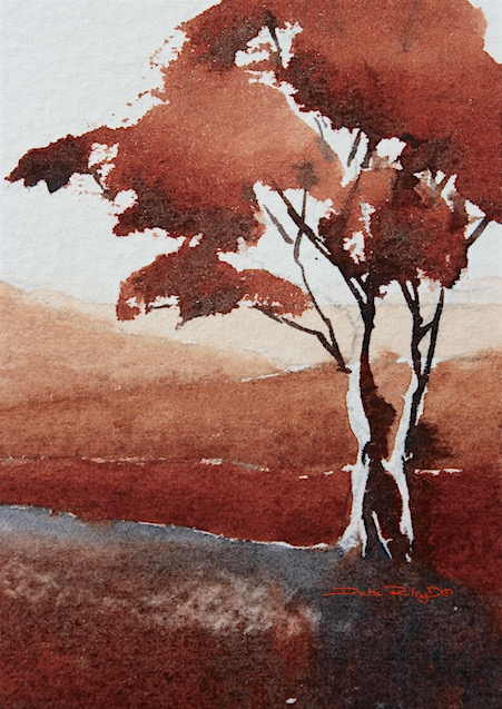 easy beginners watercolor tree, contemplation zen, burnt sienna PBr7, debiriley.com