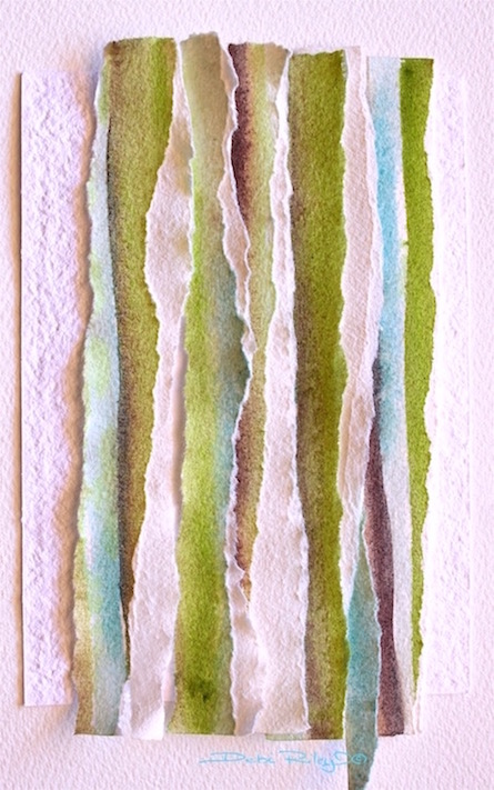 watercolor collage abstract in green, Bamboo Zen, wabi sabi, debiriley.com