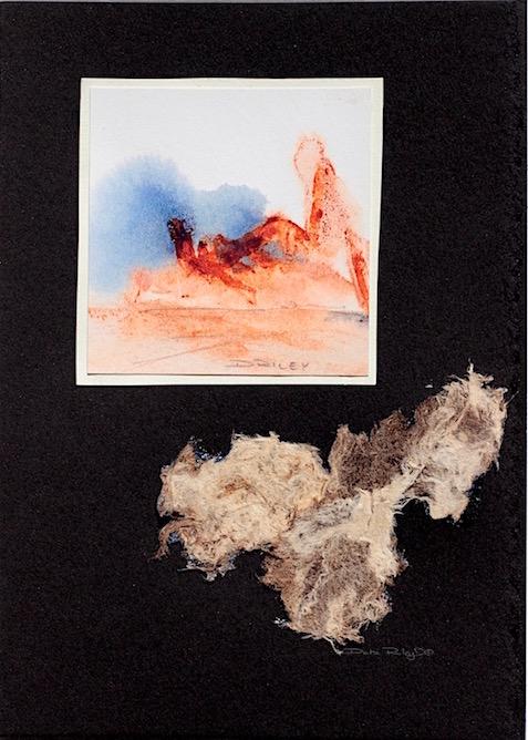 watercolor impressionist landscape, blue and orange, debiriley.com
