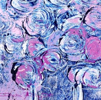 Floral motif, lilac purple painting, debiriley.com