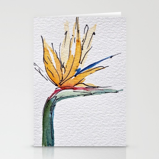 bright bird of paradise greeting cards, debi riley art, flower cards for Mothers day, Society 6, debiriley.com