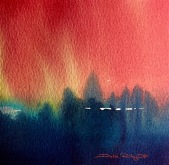watercolor landscapes Fir Trees, abstract painting, contemporary landscapes water media, debiriley.com