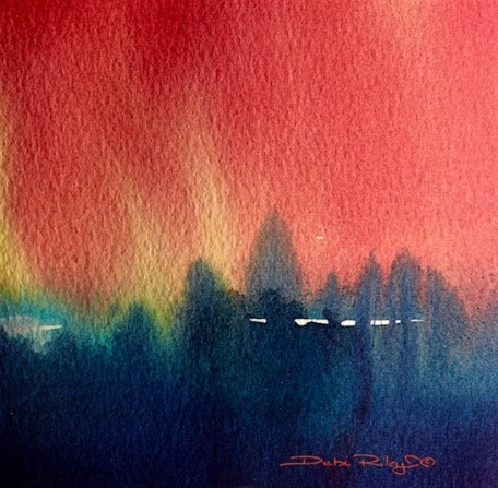 Fir Trees, watercolor ways, abstract painting, debiriley.com