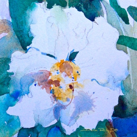 ways with watercolor, cropping, flowers, debiriley.com