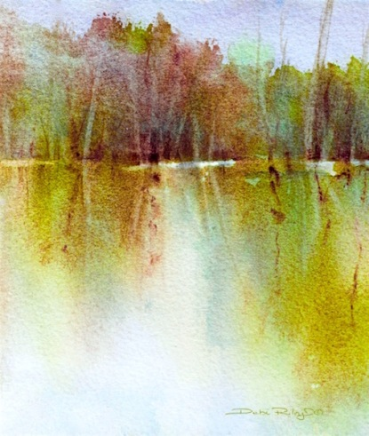 golden tree reflections, watercolor painting, debiriley.com
