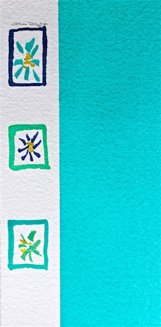 watercolor cobalt teal painting, beginner watercolor techiques, debiriley.com