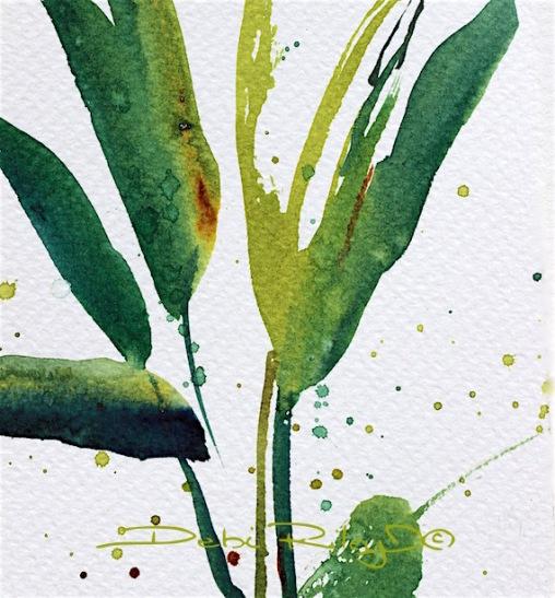mixing greens in watercolor, tropical floral greens, watercolor mixing greens, easy beginner watercolor ideas, debi riley art, debiriley.com