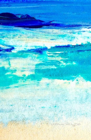 green color seas, acrylic painting, debi riley art, debiriley.com
