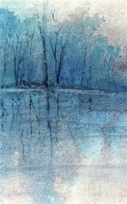 watercolor trees in cerulean, debiriley.com