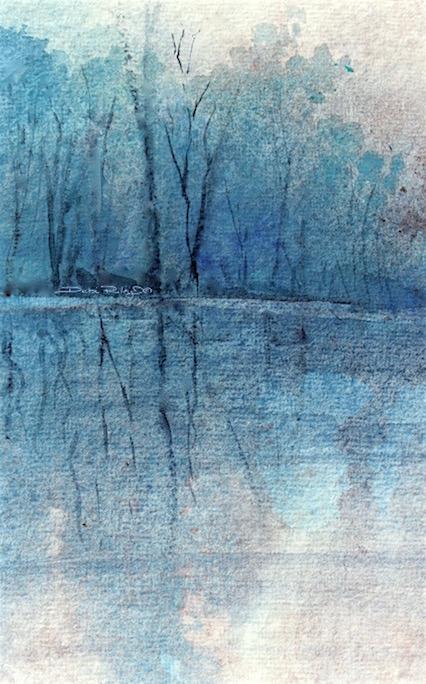 watercolor trees in cerulean, debiriley.com