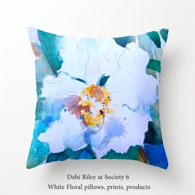 debiriley at Society 6, white floral watercolor, debiriley.com