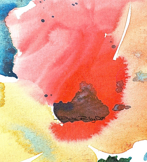 watercolor abstract flower, art muses. colorful bright watercolor flower painting, debi riley, debiriley.com
