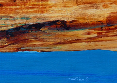 blue lake painting, acrylic abstract landscape, acrylic textures, debi riley