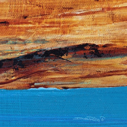 contemporary, abstract acrylic landscapes, blue lake painting, debi riley art