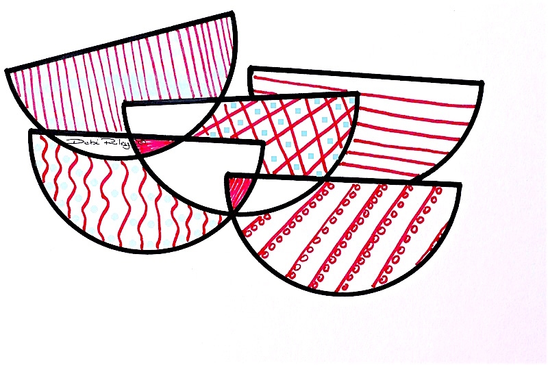 Still Life pink coral, patterned bowls, graphic design, debi riley art, debiriley.com