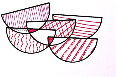 Still Life pink coral, patterned bowls, graphic design, debi riley art, debiriley.com