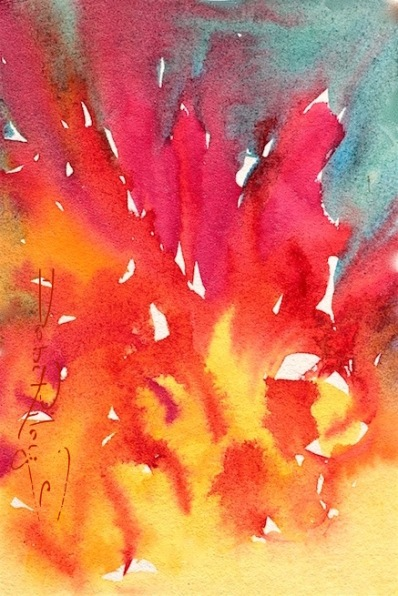 colorful abstract contemporary watercolor, flower in flames, debi riley art