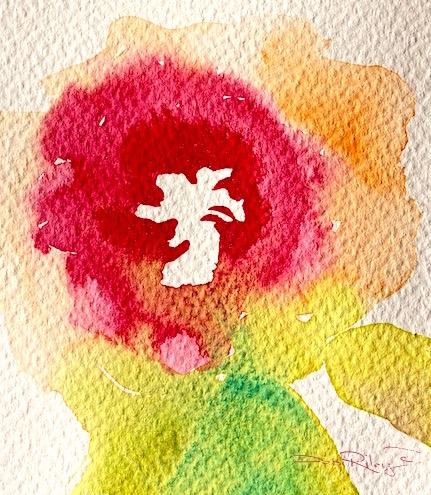 easy watercolor flowers, using rekab 320s watercolor brush, debiriley.com, watercolor flower painting, debi riley