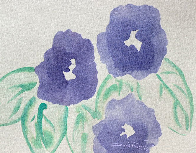 watercolor flower techniques, easy beginners watercolors, debi riley art