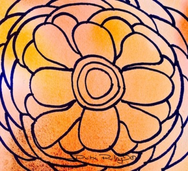 simplifying flowers, flower abstract drawings. debiriley.com