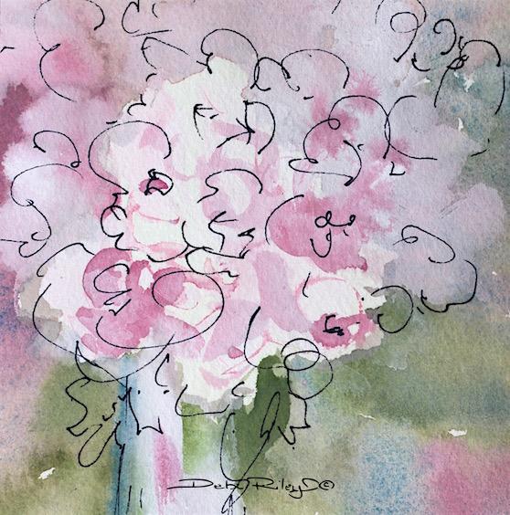 Mothers Day Art, flowers pink watercolors, debi riley art,