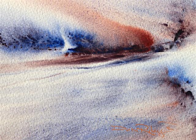 debiriley.com, wild watercolor landscape, wet in wet technique, ultramarine blue pb29, debi riley