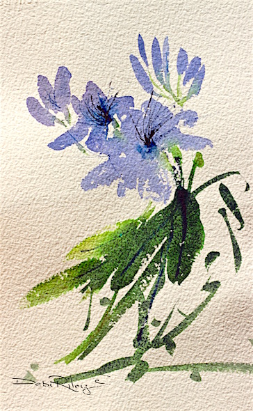 paint simple easy watercolor flowers, mixing green foliage, debi riley, debiriley.com