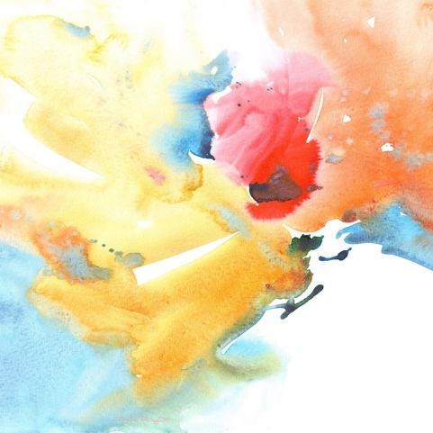 watercolor abstract flower painting,yellow, red, orange flowers painting, beginners watercolor flowers, wet in wet, debi riley art, debiriley.com