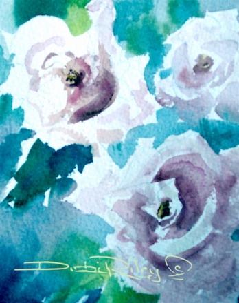 dawn light, watercolor flower, debi riley art