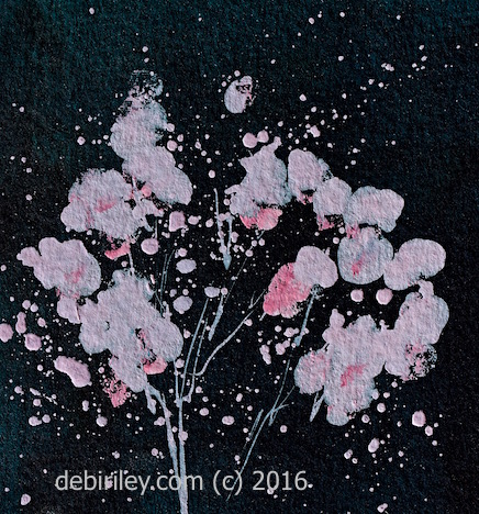 Midnight in Watercolor abstract painting, tree in bloom, debiriley.com