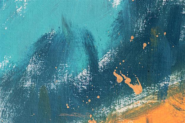 painting in blue, color conveys mood, cobalt teal blue, oil abstract painting, debi riley art, debiriley.com