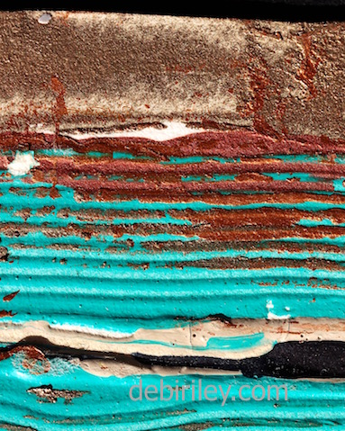 Teal and copper abstract painting, rejuvenating, zen, debi riley art techniques