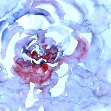 watercolor flowers in purples and reds, debi riley watercolor art