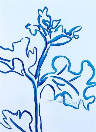 flower leaves watercolor drawing in blue, debiriley.com
