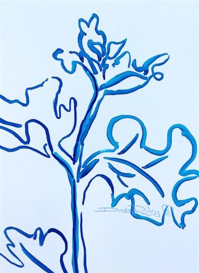 flower leaves watercolor drawing in blue, debiriley.com