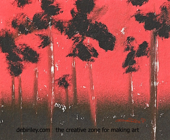 sunset painting red and black inks, debiriley.com, creative ink techniques