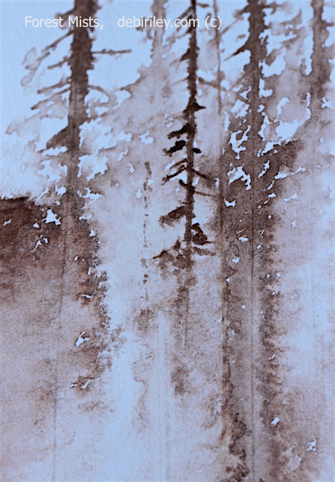 ink drawing in brown, forest and cliff in mist, debiriley.com