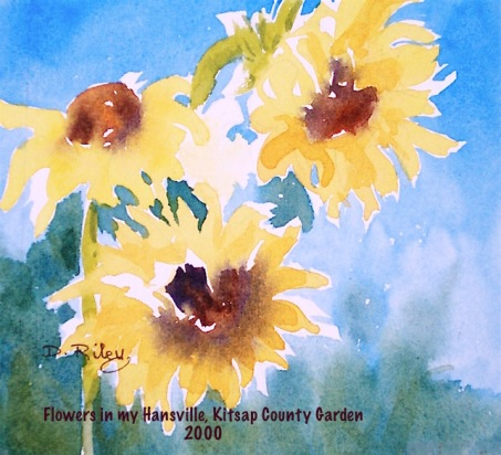 Summer sunflowers watercolors, #worldwatercolormonth debiriley.com