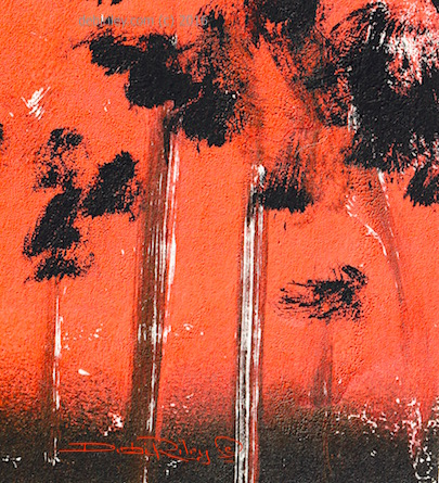 sunset painting, in June, ink duochrome, debi riley creative art techniques