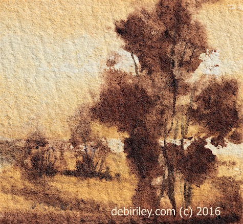 miniature watercolor landscape with squirrel brush, Rekab 320s, debiriley.com, brushes for beginners
